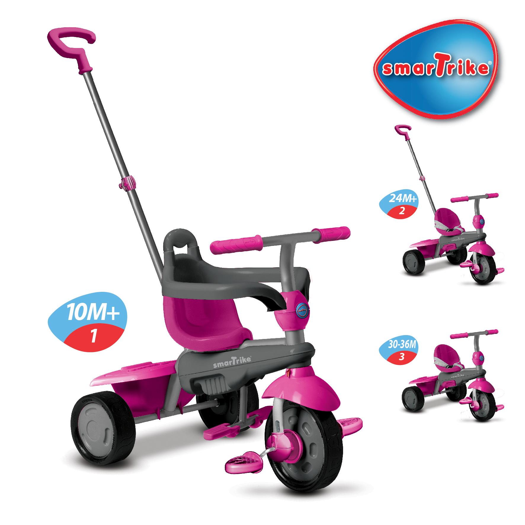 růžovo-šedá tříkolka Breeze Touch Steering 059efcf51d7